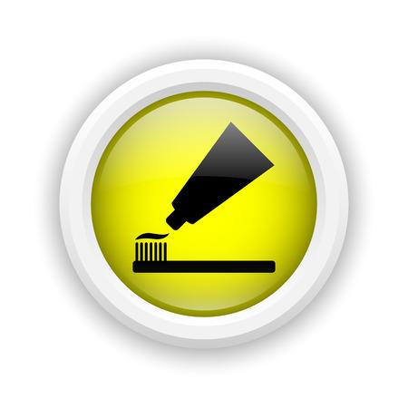 fluoride toothpaste: Round plastic icon with black design on yellow background Stock Photo