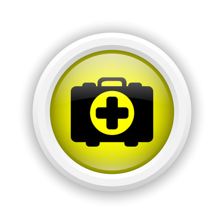 first aid kit key: Round plastic icon with black design on yellow background Stock Photo