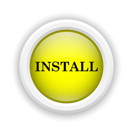 Round plastic icon with black design on yellow background Stock Photo - 25002733