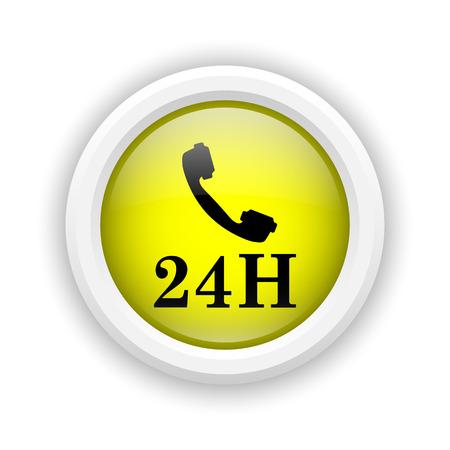 around the clock: Round plastic icon with black design on yellow background Stock Photo