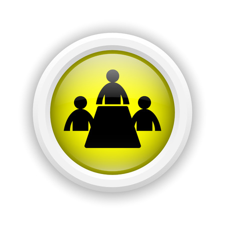 Round plastic icon with black design on yellow background photo