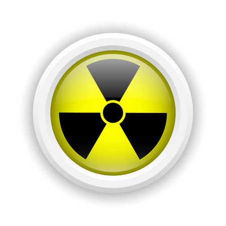 plutonium: Round plastic icon with black design on yellow background Stock Photo