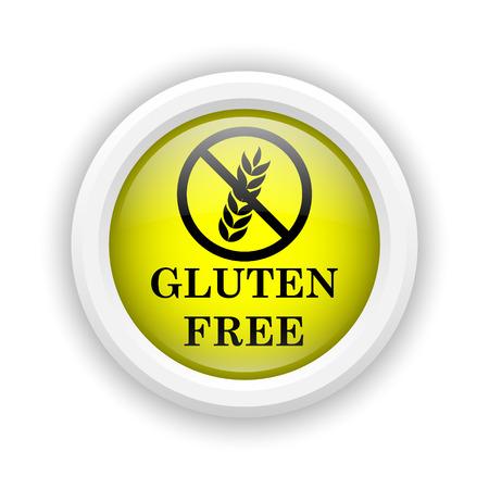 celiac: Round plastic icon with black design on yellow background Stock Photo