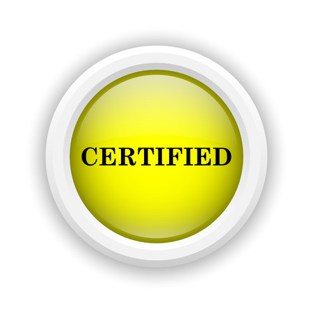 of ratification: Round plastic icon with black design on yellow background Stock Photo