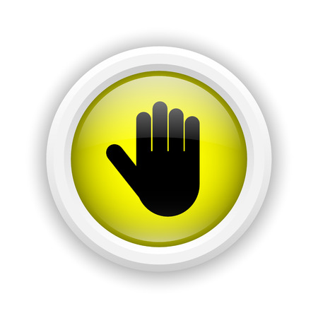 restrictive: Round plastic icon with black design on yellow background Stock Photo