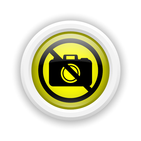 Round plastic icon with black design on yellow background Stock Photo - 25003241