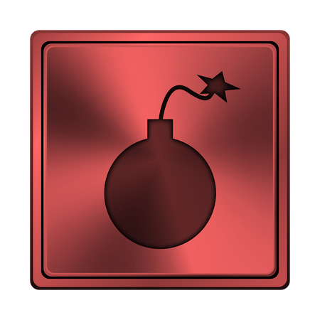 mines: Square metallic icon with carved design on red background Stock Photo