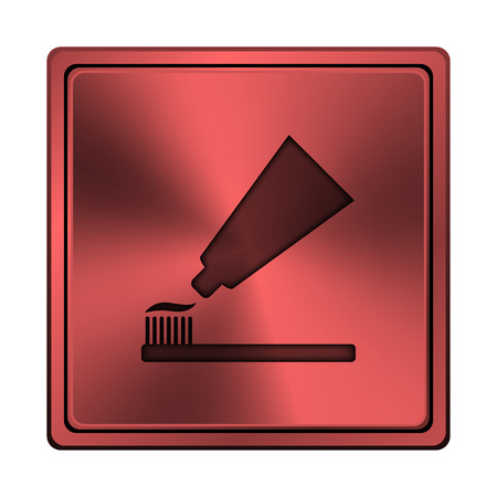 fluoride toothpaste: Square metallic icon with carved design on red background Stock Photo