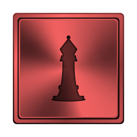 Square metallic icon with carved design on red background photo