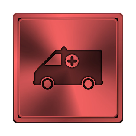 harm: Square metallic icon with carved design on red background Stock Photo