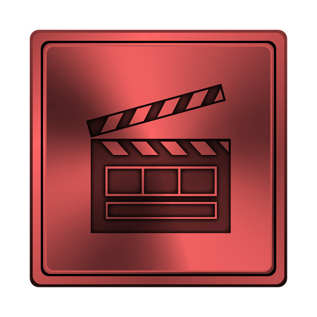 sign maker: Square metallic icon with carved design on red background Stock Photo