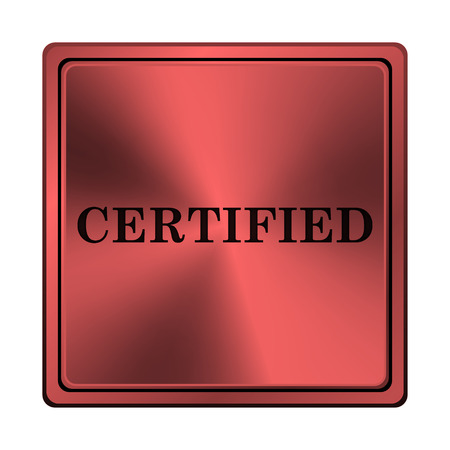 of ratification: Square metallic icon with carved design on red background Stock Photo