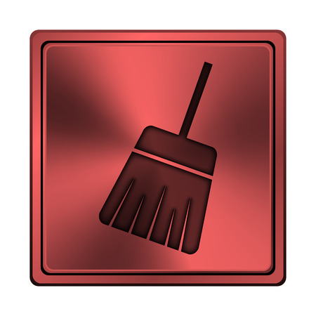 Square metallic icon with carved design on red background Stock Photo
