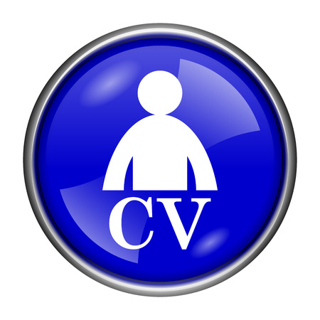 vacancy: Round glossy icon with white design on blue background Stock Photo