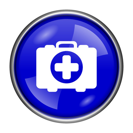 first aid kit key: Round glossy icon with white design on blue background Stock Photo