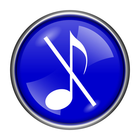 sound off: Round glossy icon with white design on blue background Stock Photo