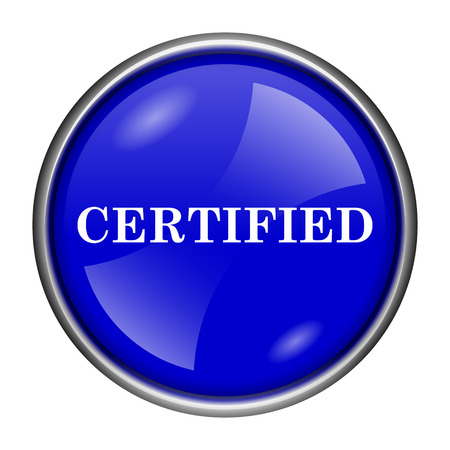 of ratification: Round glossy icon with white design on blue background Stock Photo