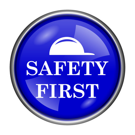 cautionary: Round glossy icon with white design on blue background Stock Photo