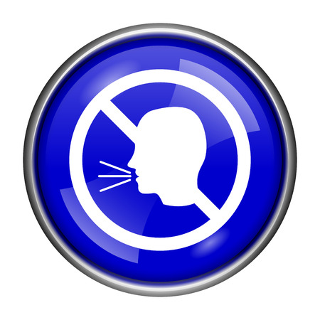 aloud: Round glossy icon with white design on blue background Stock Photo
