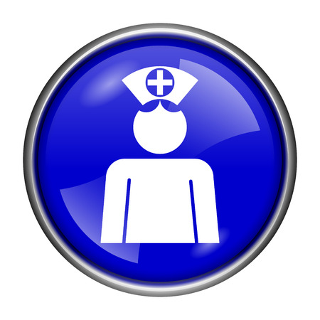 clinical staff: Round glossy icon with white design on blue background Stock Photo