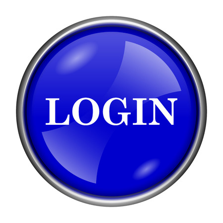 logging: Round glossy icon with white design on blue background Stock Photo