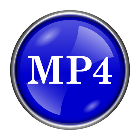 mp4: Round glossy icon with white design on blue background Stock Photo