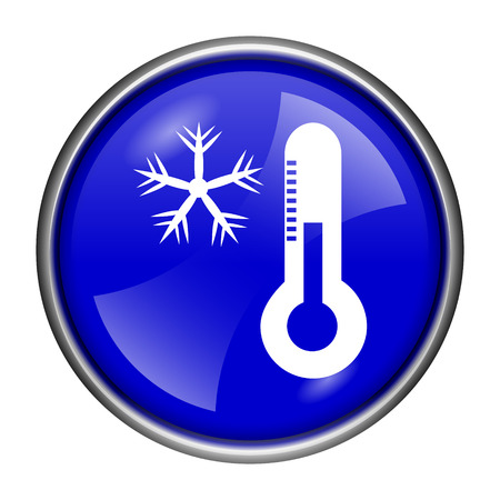 celsius: Round glossy icon with white design on blue background Stock Photo