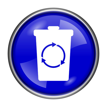 Round glossy icon with white design on blue background photo