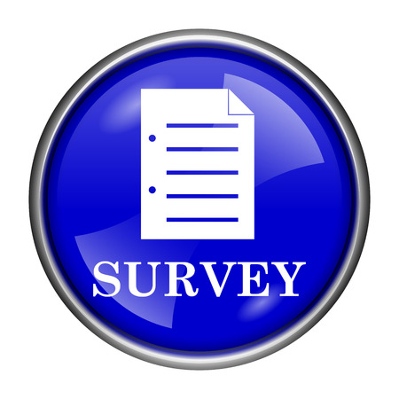 feedback form: Round glossy icon with white design on blue background Stock Photo