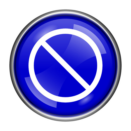 disallowed: Round glossy icon with white design on blue background Stock Photo
