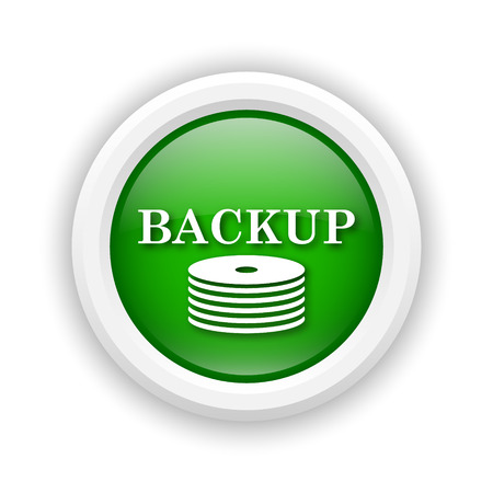 data archiving: Round plastic icon with white design on green background