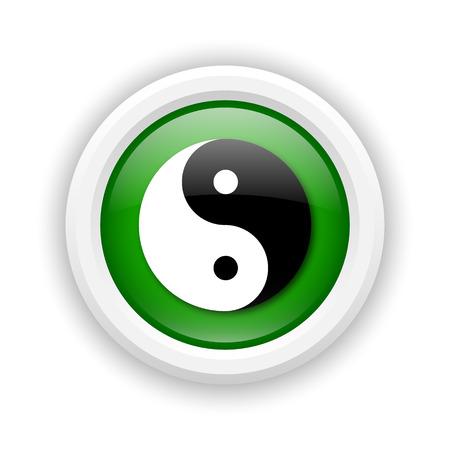 Round plastic icon with white design on green background Stock Photo - 25285691