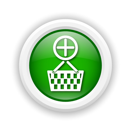 Round plastic icon with white design on green background photo
