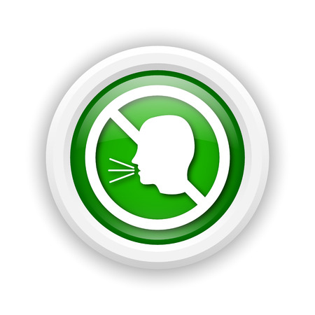 don't: Round plastic icon with white design on green background