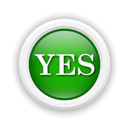 yea: Round plastic icon with white design on green background