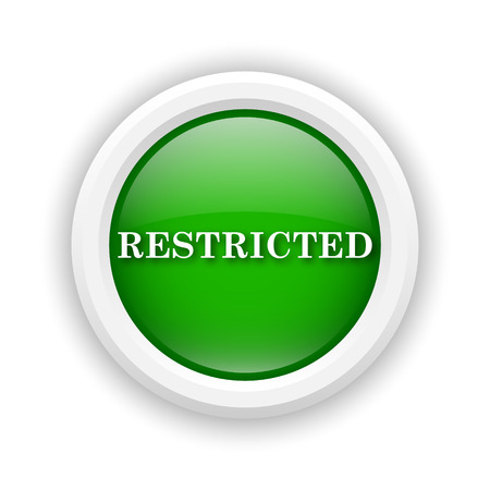disallowed: Round plastic icon with white design on green background
