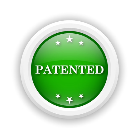 secured property: Round plastic icon with white design on green background