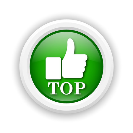 best rated: Round plastic icon with white design on green background