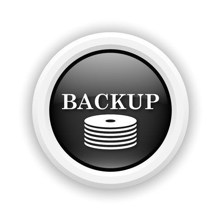 data archiving: Round plastic icon with white design on black background