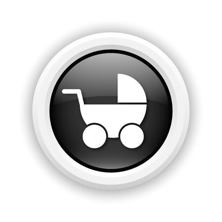 Round plastic icon with white design on black background Stock Photo - 25417171
