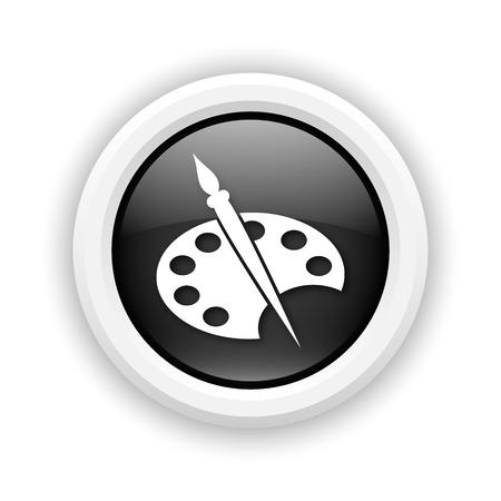 Round plastic icon with white design on black background photo