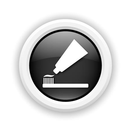 fluoride toothpaste: Round plastic icon with white design on black background