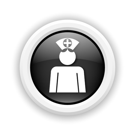 clinical staff: Round plastic icon with white design on black background
