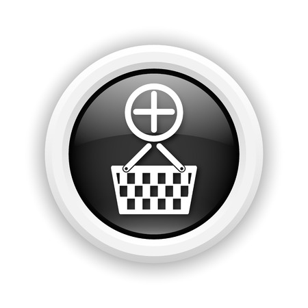 Round plastic icon with white design on black background photo