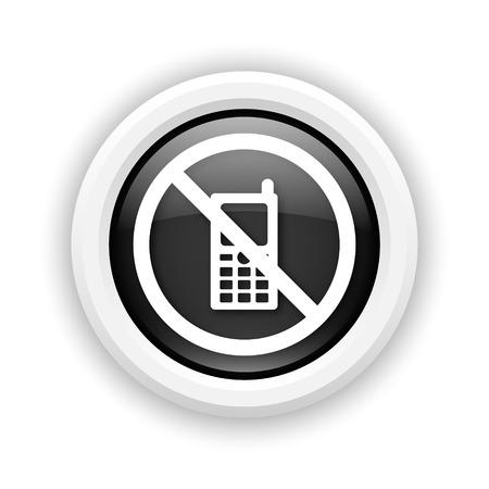 refrain: Round plastic icon with white design on black background