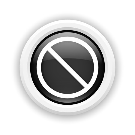 disallowed: Round plastic icon with white design on black background