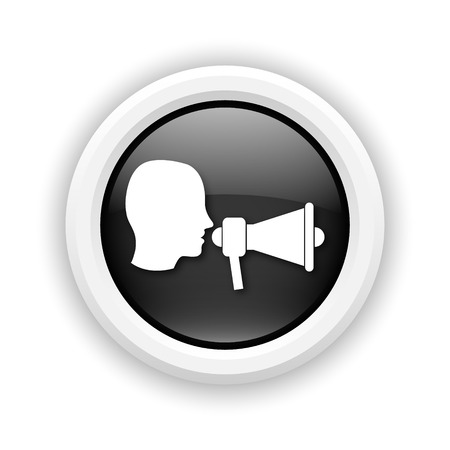 urgent announcement: Round plastic icon with white design on black background