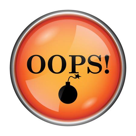 blunder: Round glossy icon with black design on orange background Stock Photo