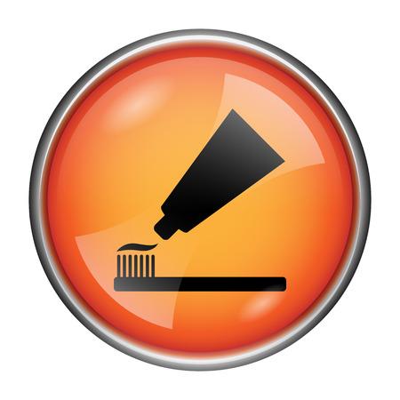 toothbrushing: Round glossy icon with black design on orange background Stock Photo