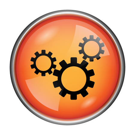 Round glossy icon with black design on orange background photo